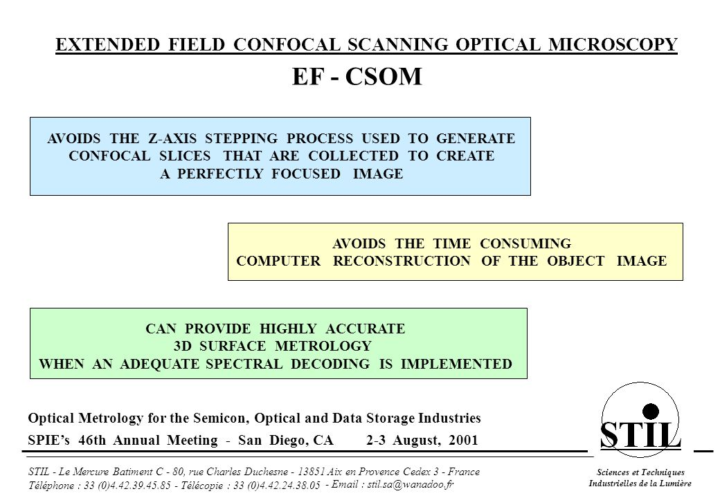 EF - CSOM EXTENDED FIELD CONFOCAL SCANNING OPTICAL MICROSCOPY