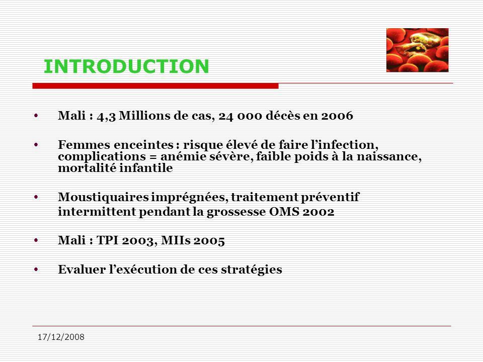 INTRODUCTION Mali : 4,3 Millions de cas, 24 000 décès en 2006