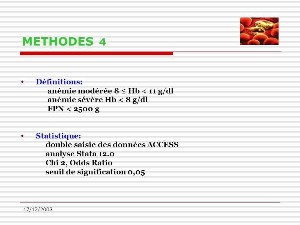 METHODES 4 Définitions: anémie modérée 8 ≤ Hb < 11 g/dl