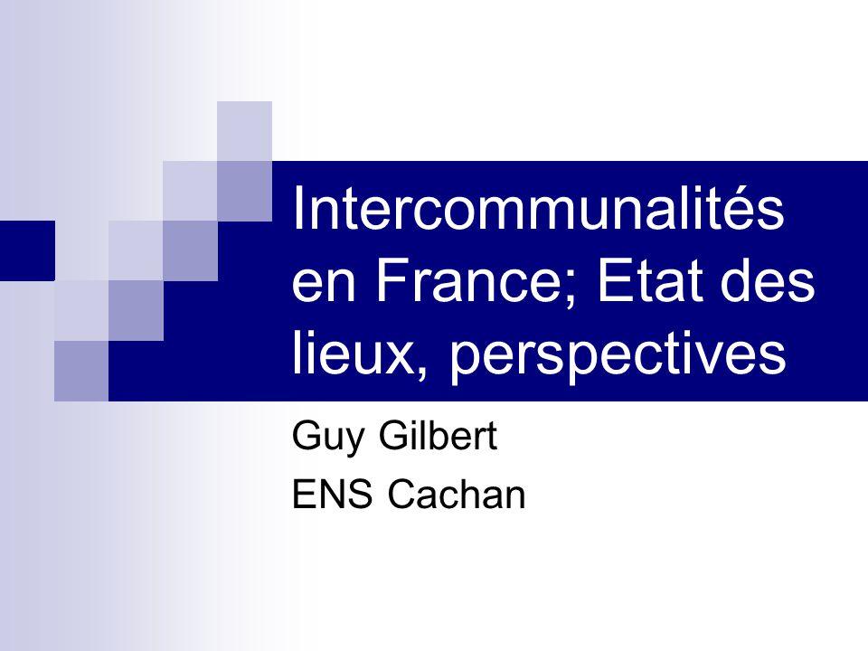 Intercommunalités en France; Etat des lieux, perspectives