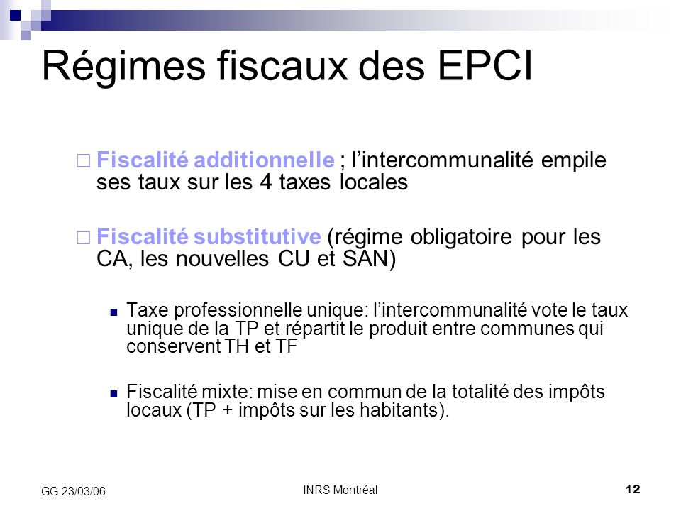 Régimes fiscaux des EPCI