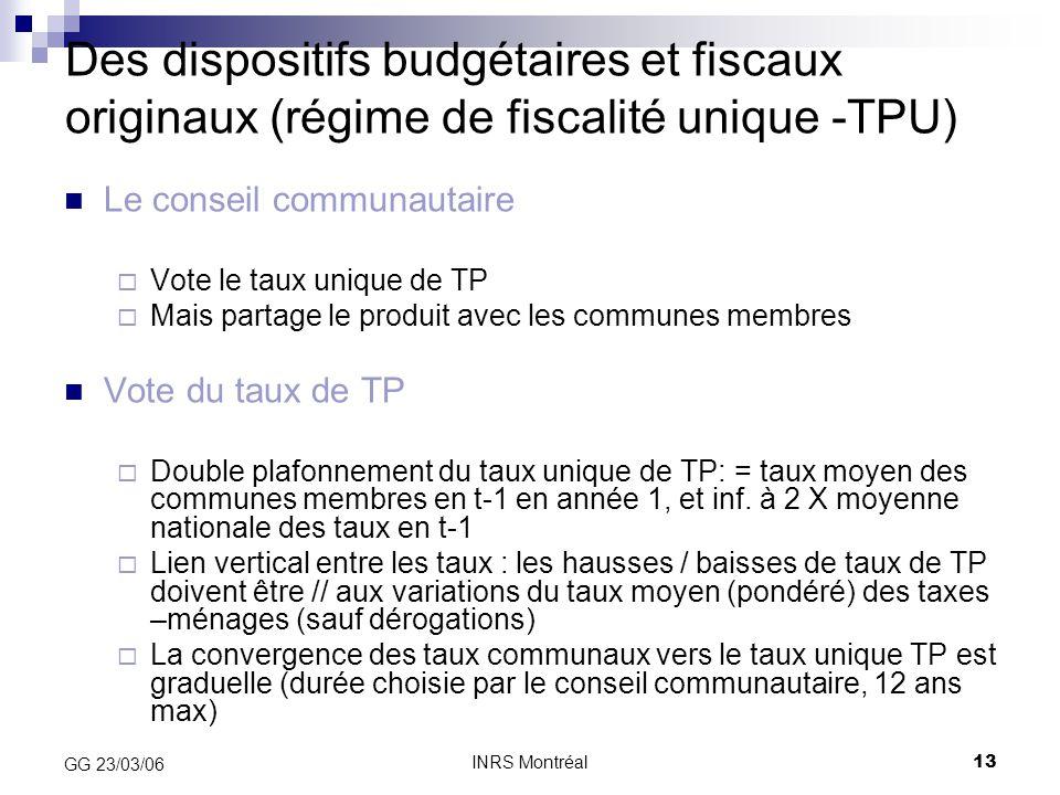 Des dispositifs budgétaires et fiscaux originaux (régime de fiscalité unique -TPU)