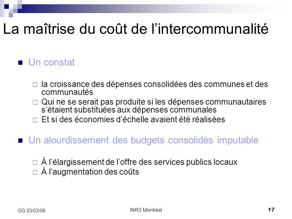 La maîtrise du coût de l'intercommunalité