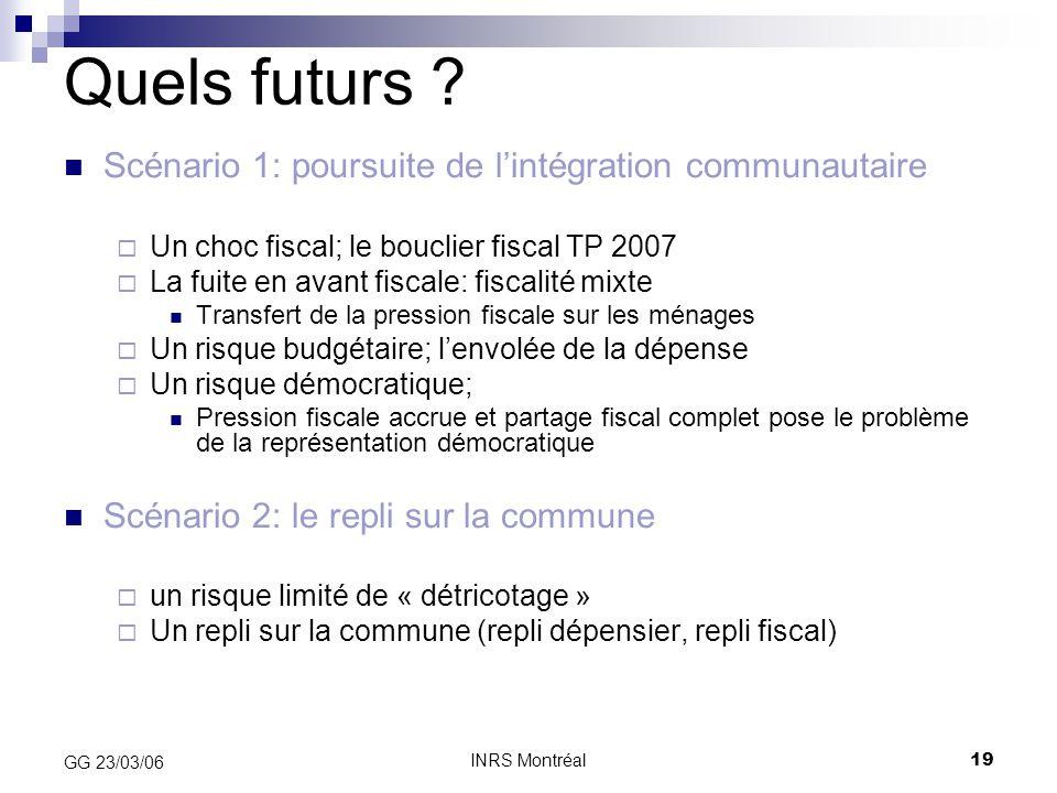 Quels futurs Scénario 1: poursuite de l'intégration communautaire