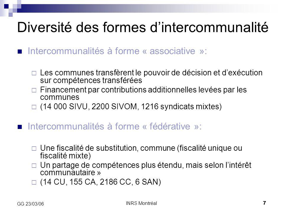 Diversité des formes d'intercommunalité