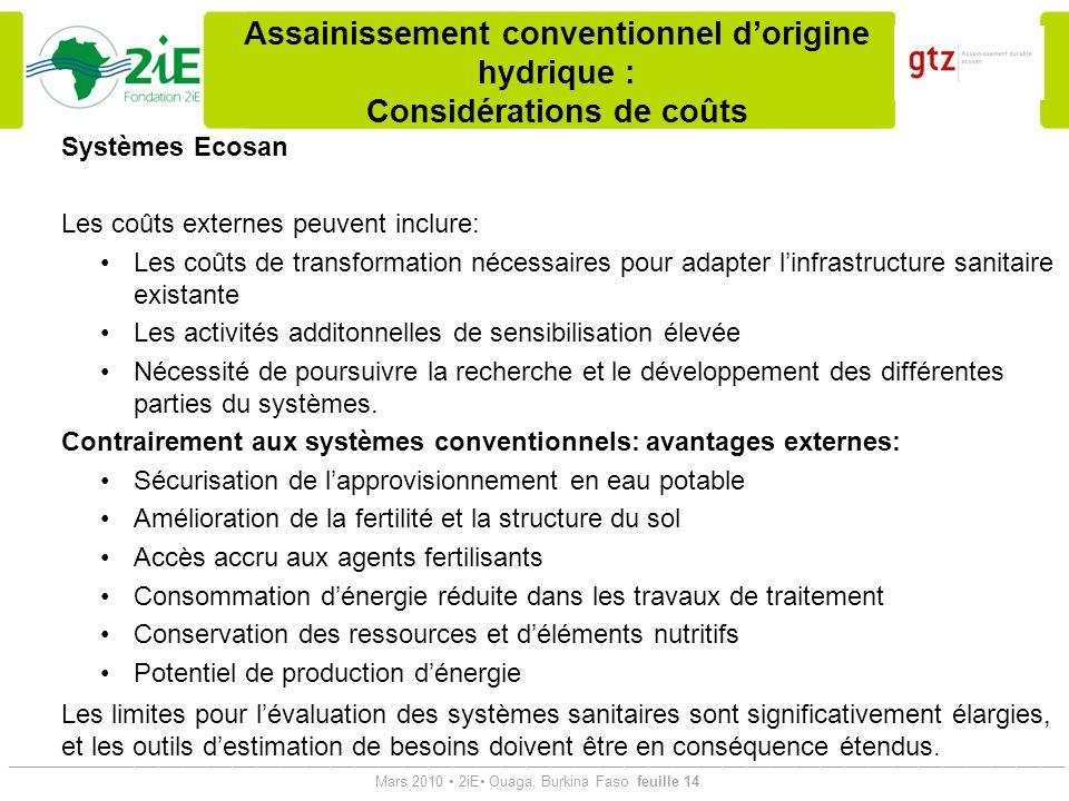 Assainissement conventionnel d'origine hydrique : Considérations de coûts