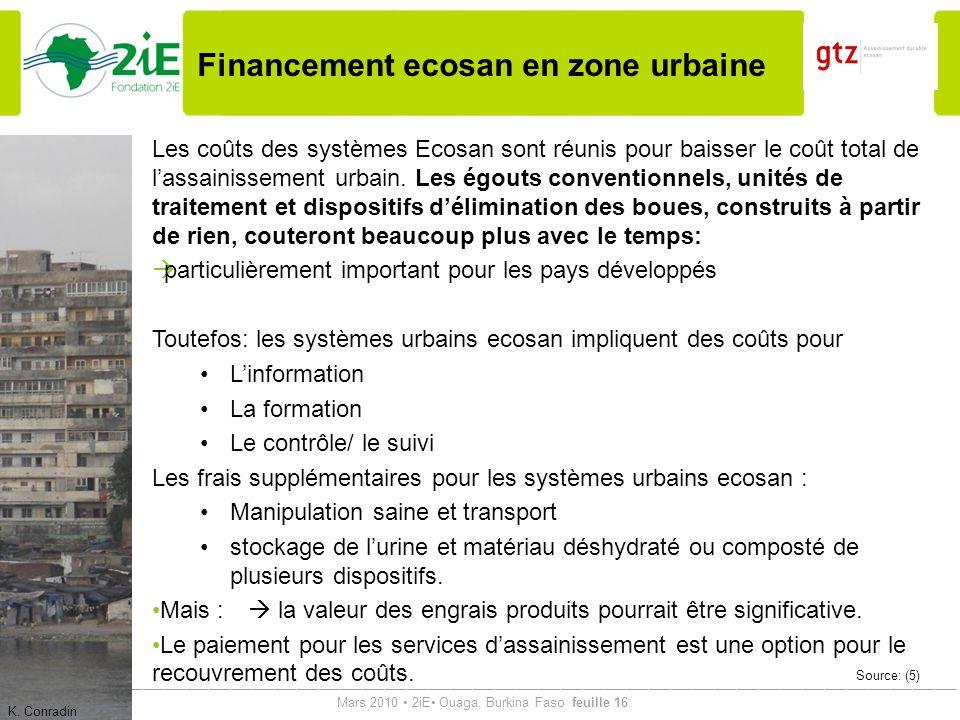 Financement ecosan en zone urbaine