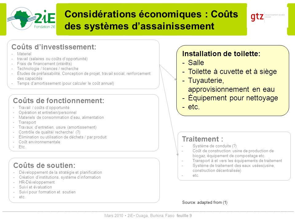 Considérations économiques : Coûts des systèmes d'assainissement