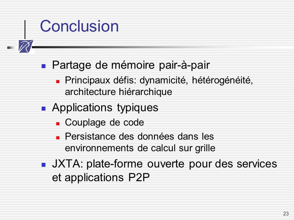 Conclusion Partage de mémoire pair-à-pair Applications typiques