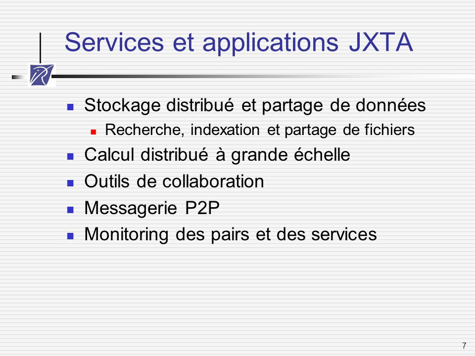 Services et applications JXTA