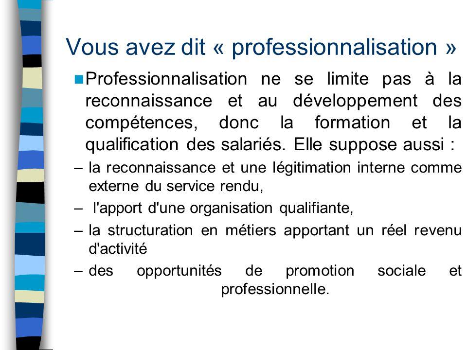 Vous avez dit « professionnalisation »