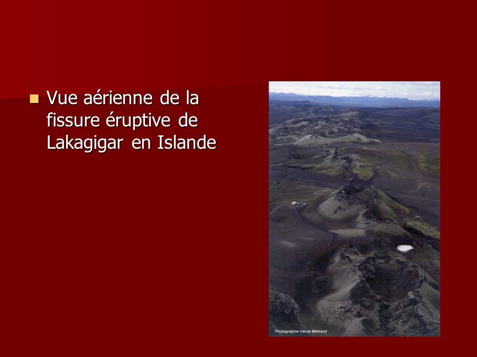 Vue aérienne de la fissure éruptive de Lakagigar en Islande
