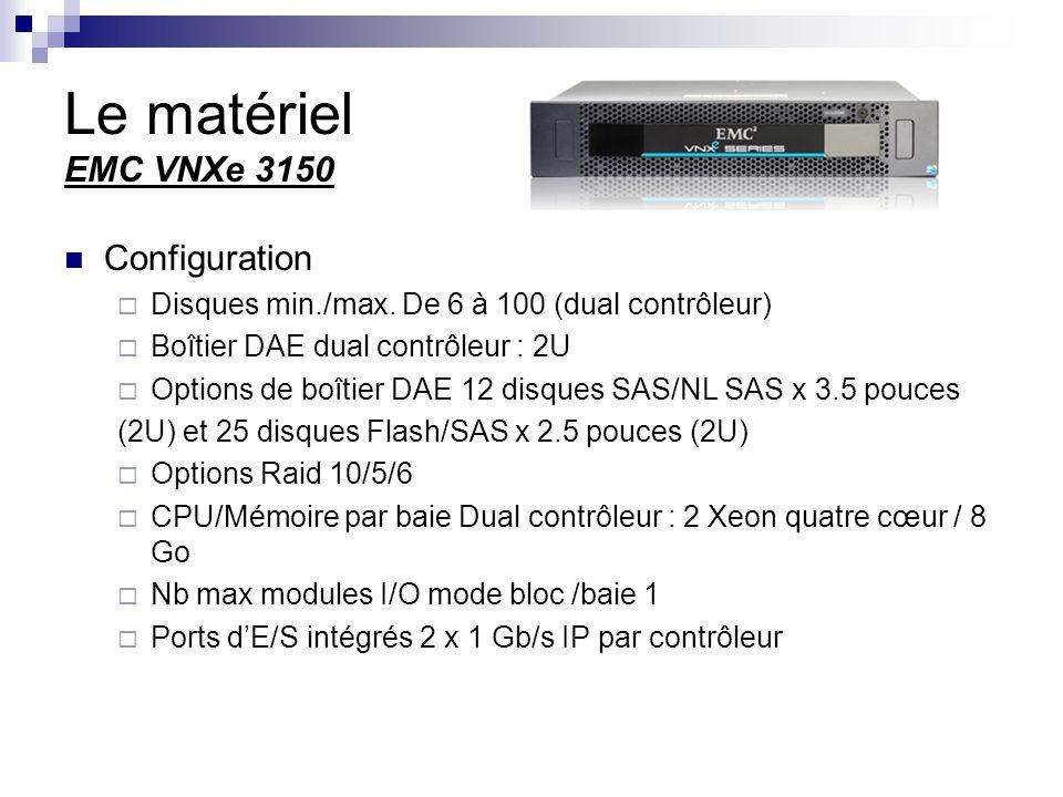 Le matériel EMC VNXe 3150 Configuration