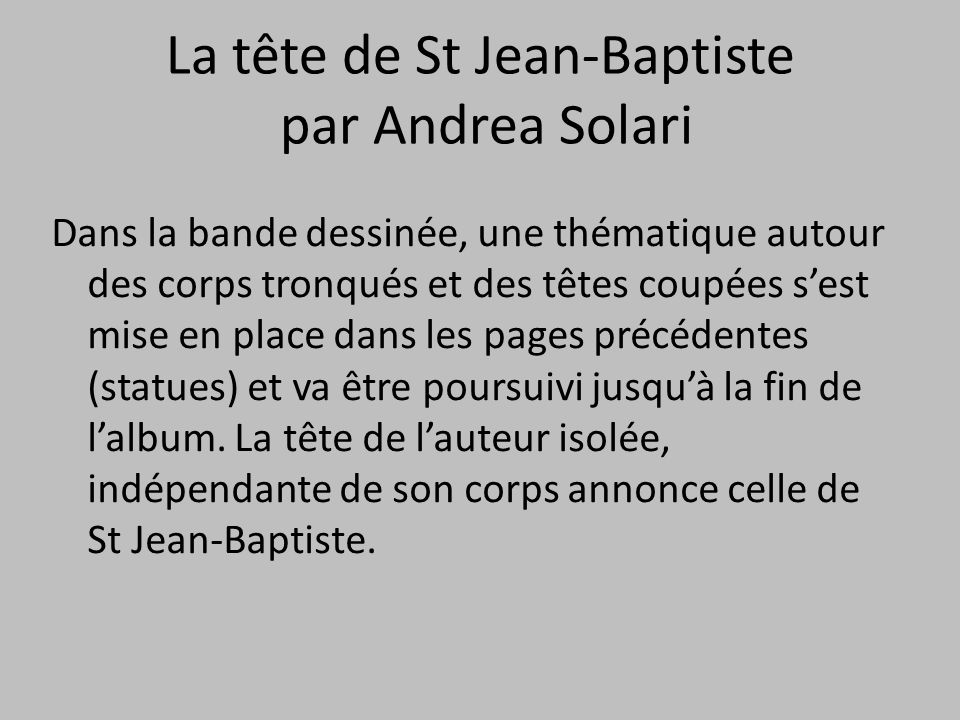 La tête de St Jean-Baptiste par Andrea Solari