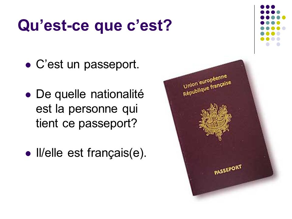 Qu'est-ce que c'est C'est un passeport.