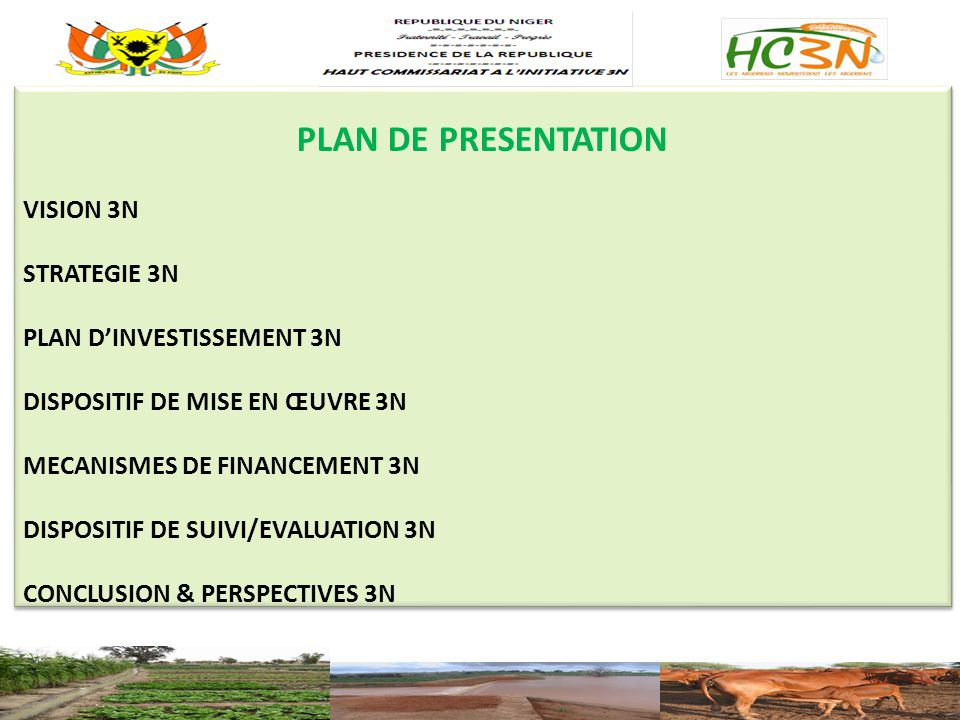 PLAN DE PRESENTATION VISION 3N STRATEGIE 3N PLAN D'INVESTISSEMENT 3N