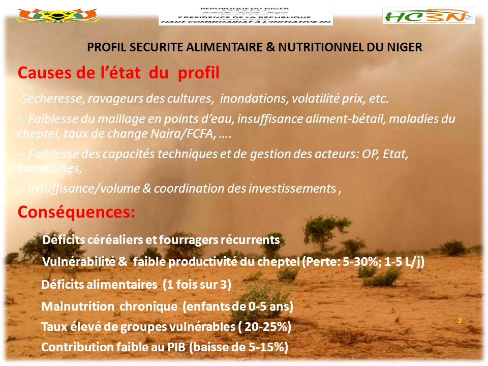 PROFIL SECURITE ALIMENTAIRE & NUTRITIONNEL DU NIGER