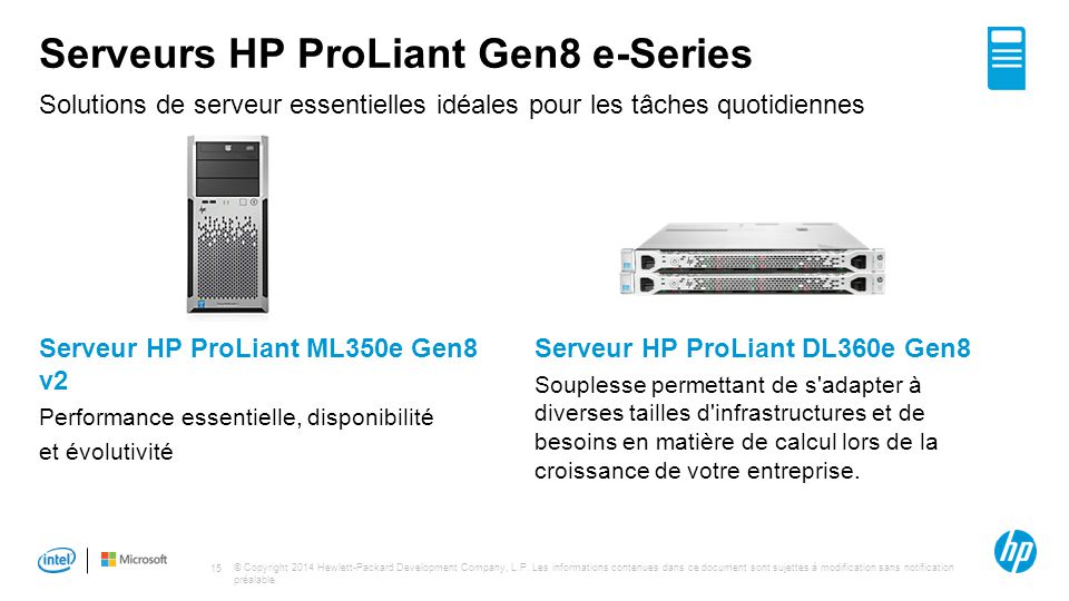Serveurs HP ProLiant Gen8 e-Series