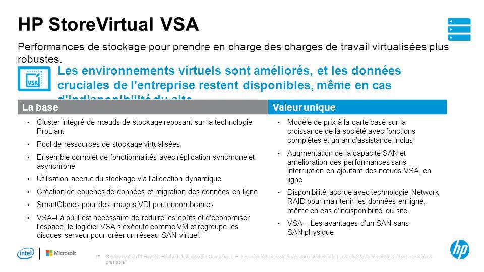 HP StoreVirtual VSA Performances de stockage pour prendre en charge des charges de travail virtualisées plus robustes.