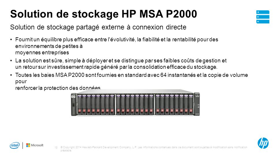 Solution de stockage HP MSA P2000