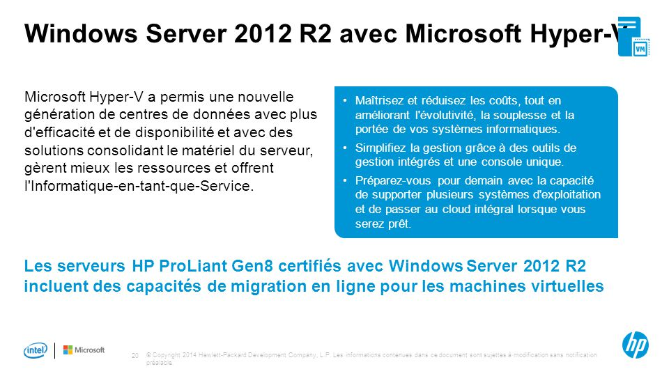 Windows Server 2012 R2 avec Microsoft Hyper-V