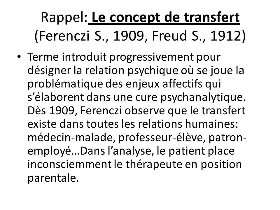 Rappel: Le concept de transfert (Ferenczi S., 1909, Freud S., 1912)