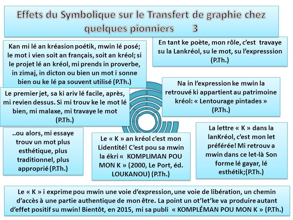 Effets du Symbolique sur le Transfert de graphie chez quelques pionniers 3