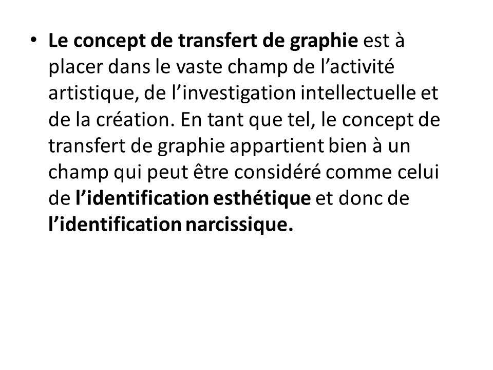 Le concept de transfert de graphie est à placer dans le vaste champ de l'activité artistique, de l'investigation intellectuelle et de la création.