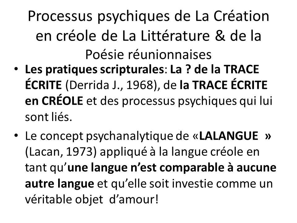 Processus psychiques de La Création en créole de La Littérature & de la Poésie réunionnaises