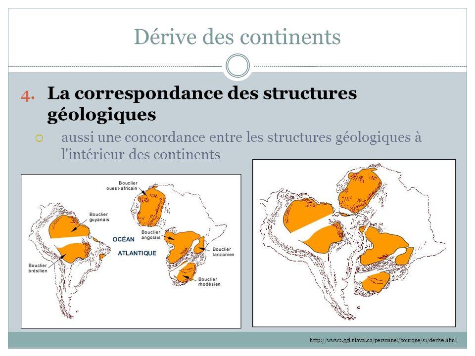 Dérive des continents La correspondance des structures géologiques