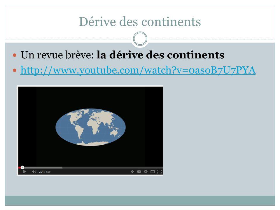 Dérive des continents Un revue brève: la dérive des continents