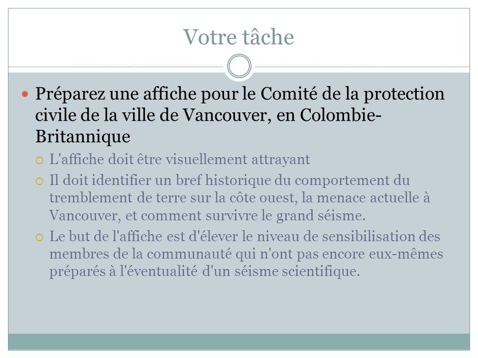 Votre tâche Préparez une affiche pour le Comité de la protection civile de la ville de Vancouver, en Colombie-Britannique.