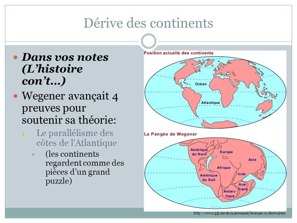 Dérive des continents Dans vos notes (L'histoire con't…)