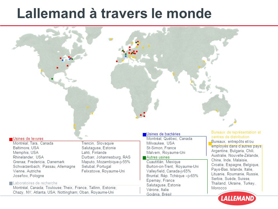 Lallemand à travers le monde