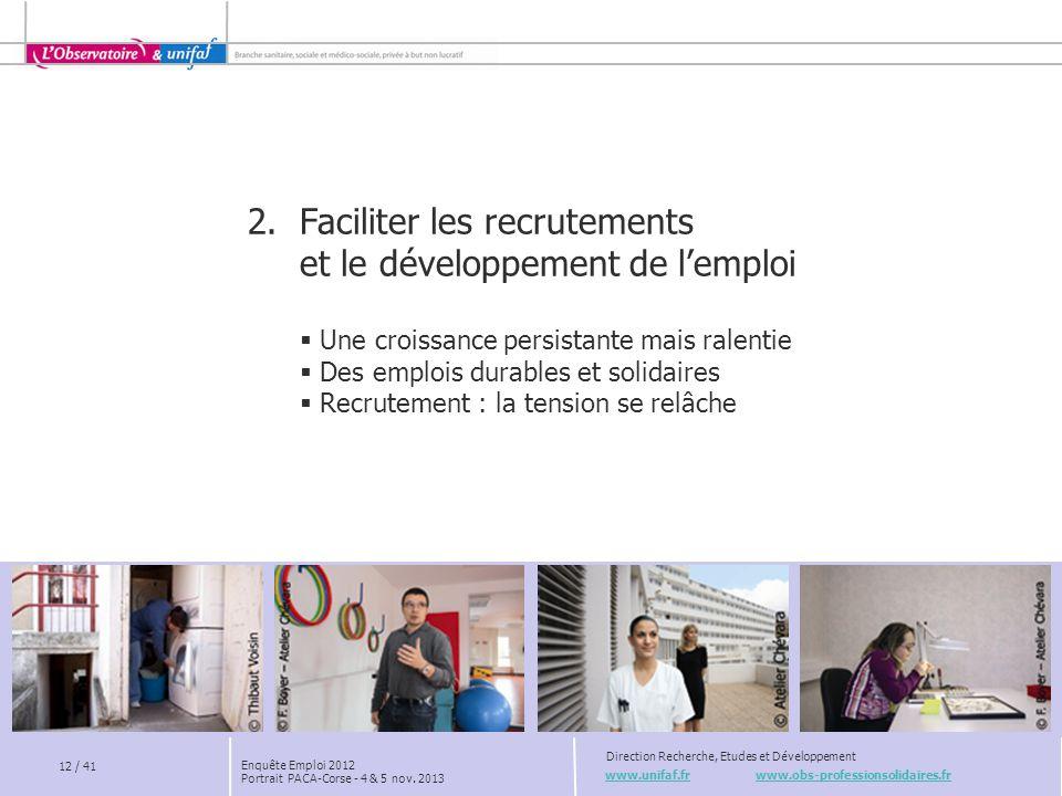 2. Faciliter les recrutements et le développement de l'emploi