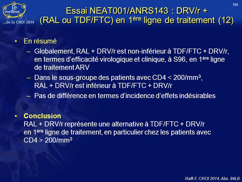 124 Essai NEAT001/ANRS143 : DRV/r + (RAL ou TDF/FTC) en 1ère ligne de traitement (12) En résumé.