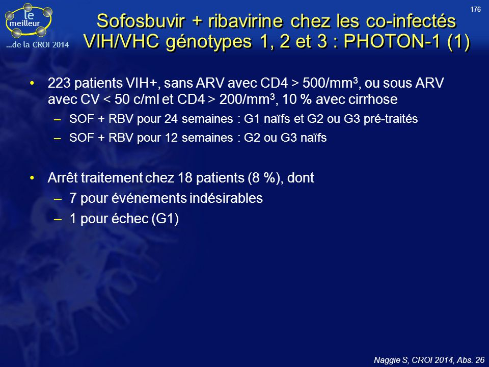 176 Sofosbuvir + ribavirine chez les co-infectés VIH/VHC génotypes 1, 2 et 3 : PHOTON-1 (1)