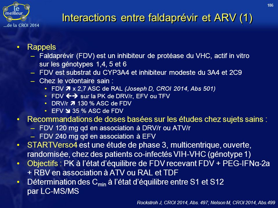 Interactions entre faldaprévir et ARV (1)