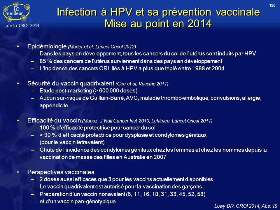 Infection à HPV et sa prévention vaccinale Mise au point en 2014