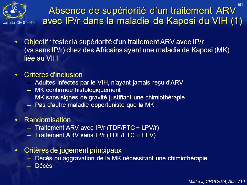 191 Absence de supériorité d'un traitement ARV avec IP/r dans la maladie de Kaposi du VIH (1)