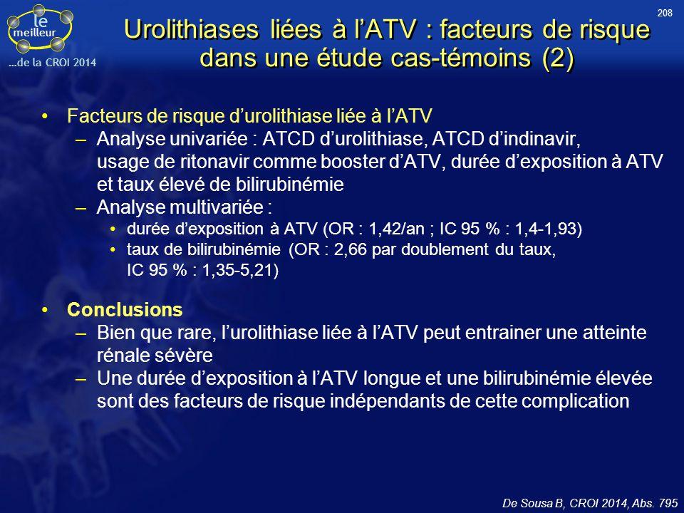 208 Urolithiases liées à l'ATV : facteurs de risque dans une étude cas-témoins (2) Facteurs de risque d'urolithiase liée à l'ATV.