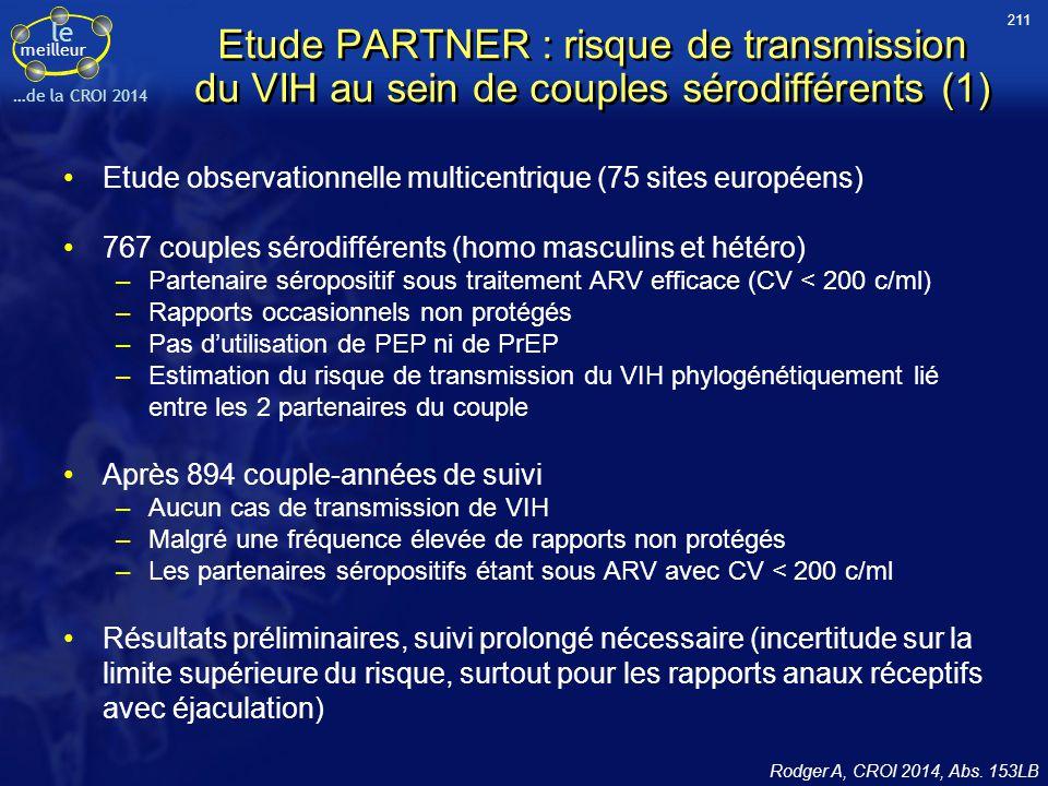 211 Etude PARTNER : risque de transmission du VIH au sein de couples sérodifférents (1) Etude observationnelle multicentrique (75 sites européens)