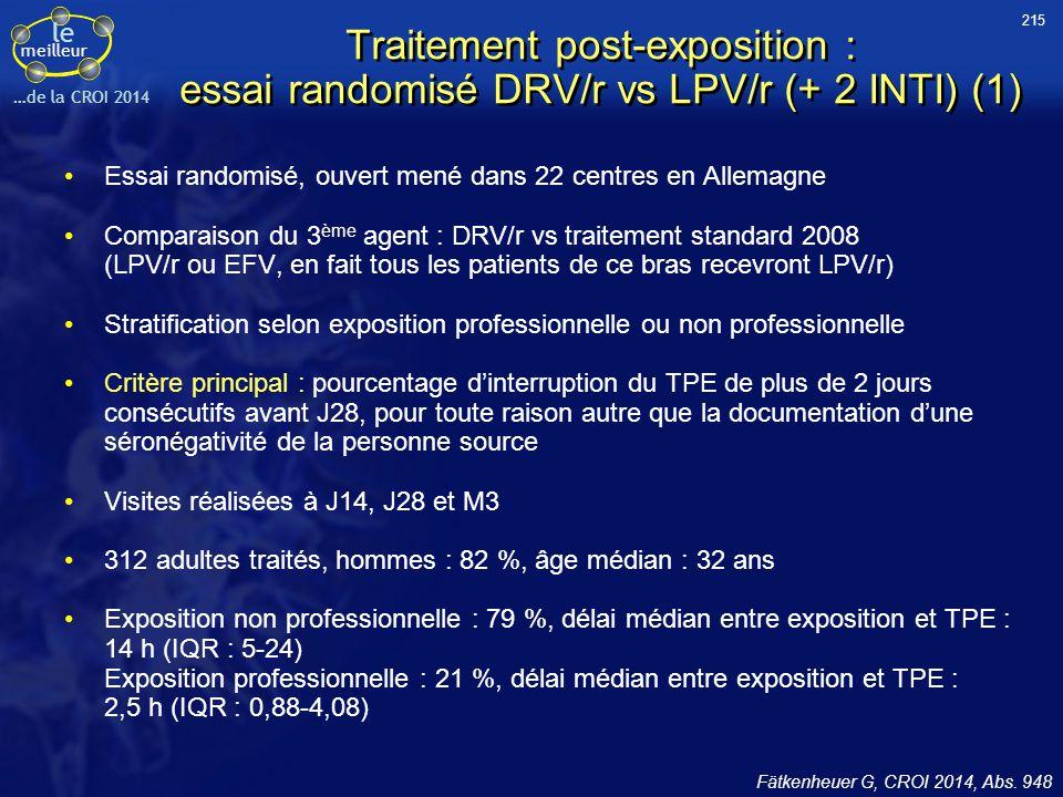 215 Traitement post-exposition : essai randomisé DRV/r vs LPV/r (+ 2 INTI) (1) Essai randomisé, ouvert mené dans 22 centres en Allemagne.
