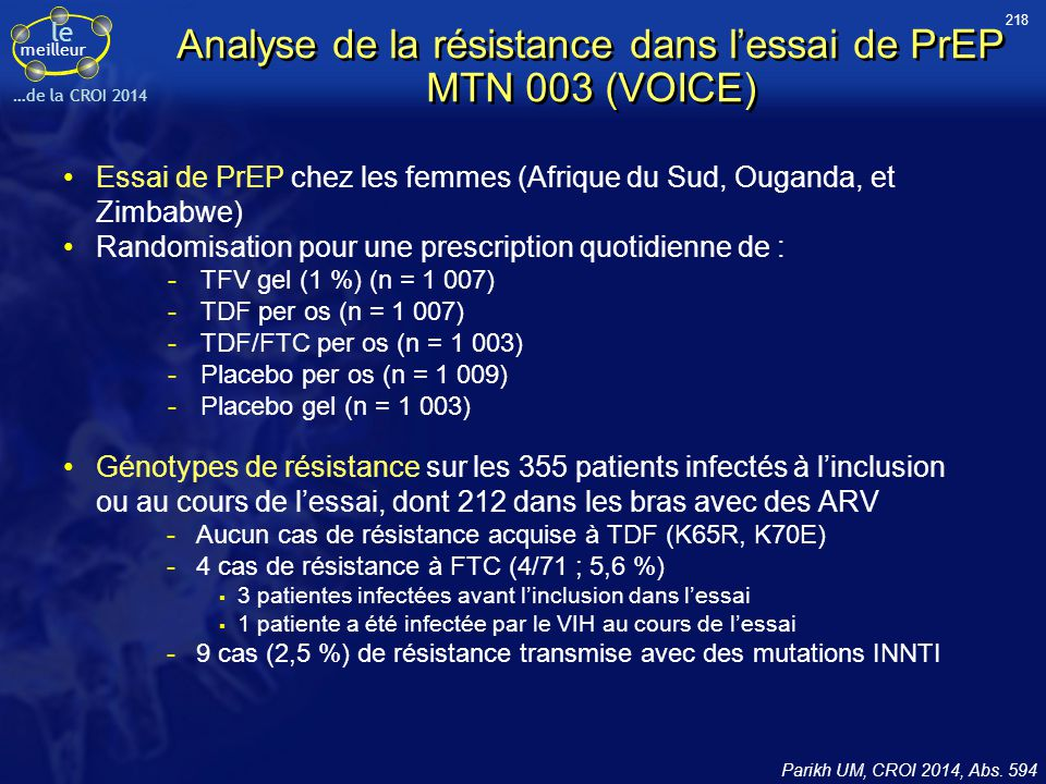 Analyse de la résistance dans l'essai de PrEP MTN 003 (VOICE)