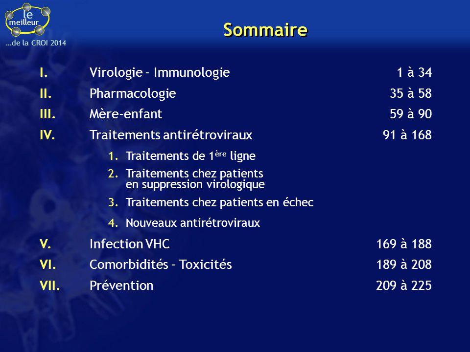 Sommaire I. Virologie - Immunologie 1 à 34 II. Pharmacologie 35 à 58