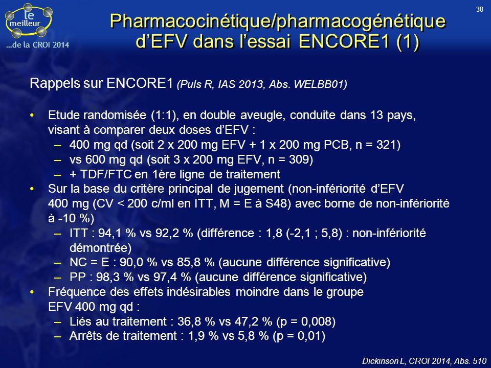 Pharmacocinétique/pharmacogénétique d'EFV dans l'essai ENCORE1 (1)