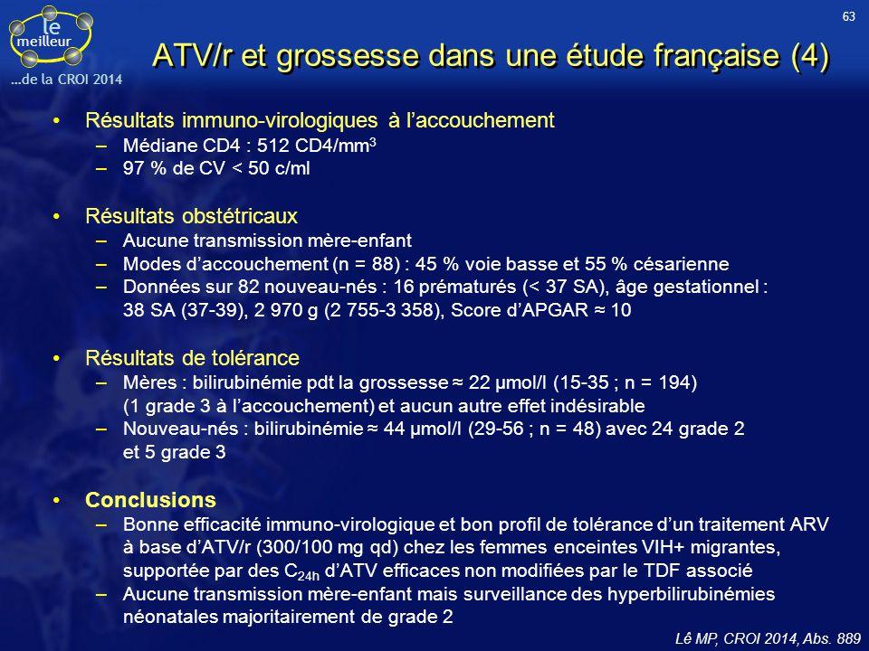 ATV/r et grossesse dans une étude française (4)