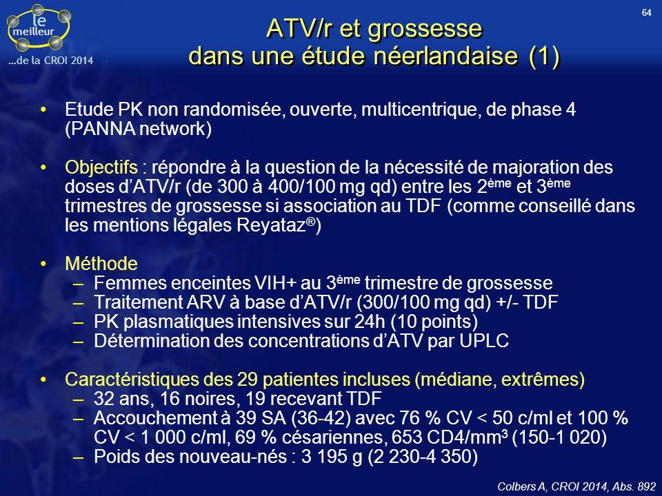 ATV/r et grossesse dans une étude néerlandaise (1)