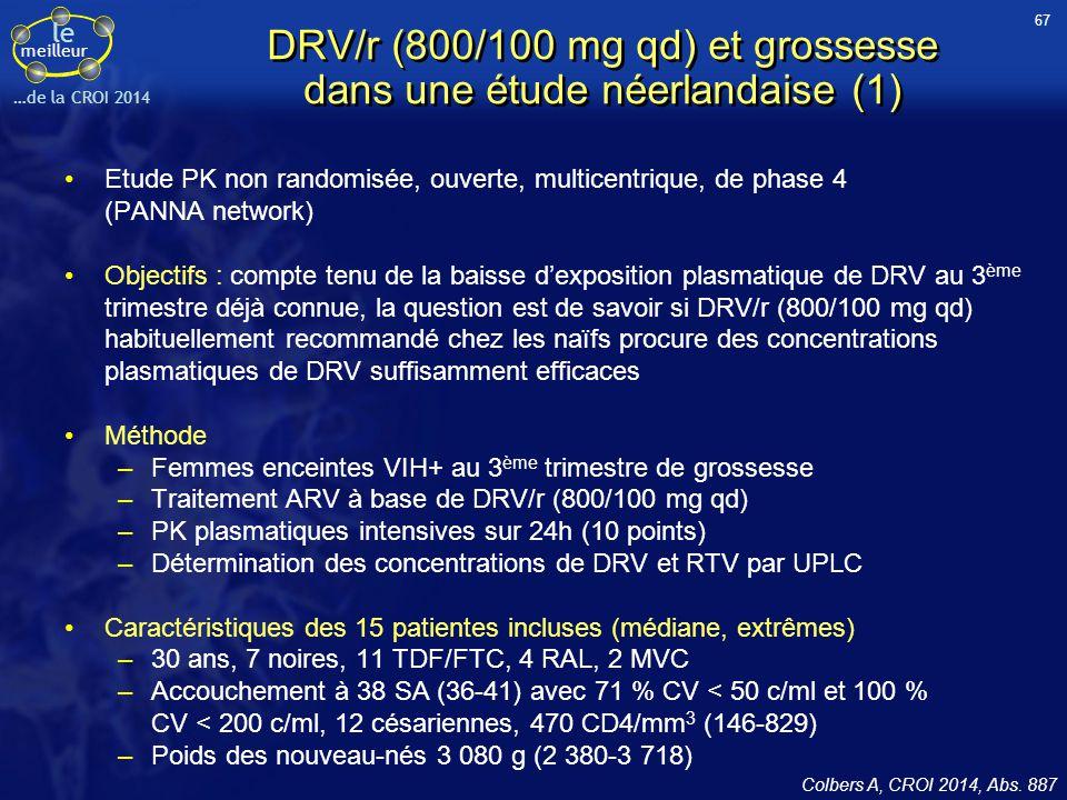 DRV/r (800/100 mg qd) et grossesse dans une étude néerlandaise (1)