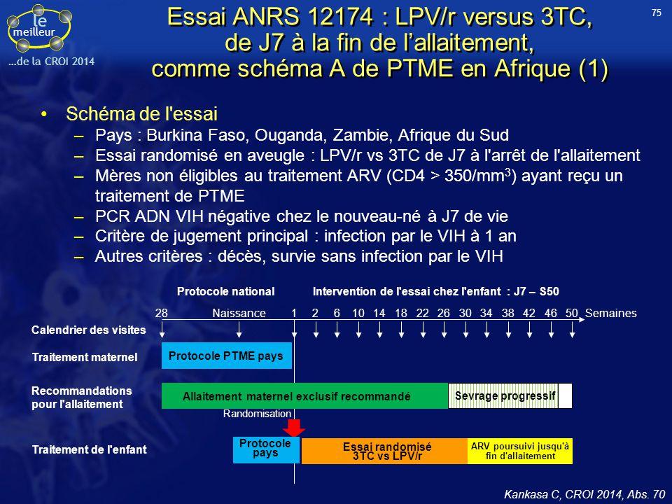 75 Essai ANRS 12174 : LPV/r versus 3TC, de J7 à la fin de l'allaitement, comme schéma A de PTME en Afrique (1)